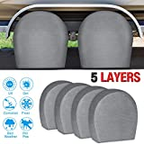 """RVMasking Tire Covers for RV Wheel Set of 4 Extra Thick 5-ply Motorhome Wheel Covers, Waterproof UV Coating Tire Protectors for Trailer Truck Camper Auto, Fits 32"""" - 34.5"""" Tire Diameters"""
