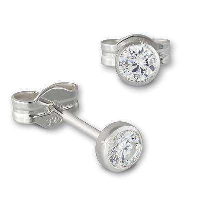 Ohrstecker silber  SilberDream Ohrringe Zirkonia weiß 3mm 925 Sterling Silber ...