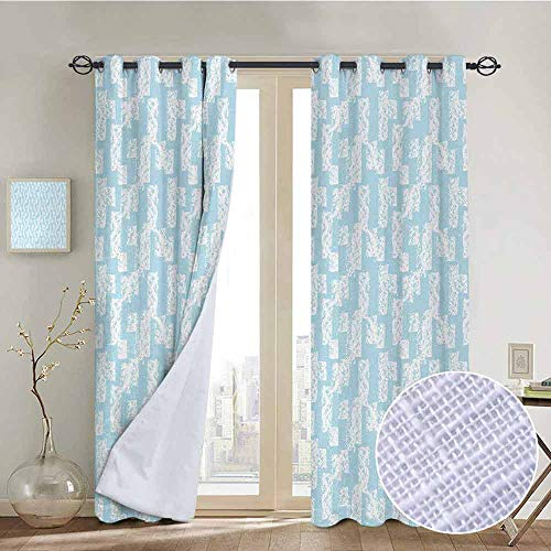 "NUOMANAN Living Room Curtains Light Blue,Wall with Brushstrokes Seem Made by a Painter Modern Minimalist Design,Baby Blue and White,Adjustable Tie Up Shade Rod Pocket Curtain 52""x72"""