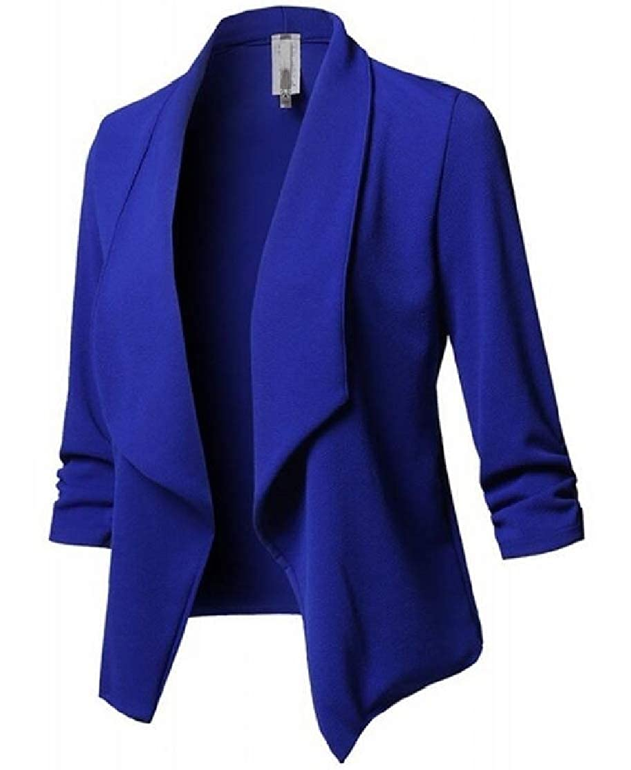 BU2H Women Ruched Long Sleeve Open-Front Solid Tux Party Blazer Jacket Coat