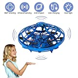 AOS UFO Flying Ball Toys,Hand-Controlled Suspension Helicopter Toy, Infrared Induction Interactive Drone Indoor Flyer Toys with 360° Rotating and LED Lights for Kids, Teenagers Boys Girls