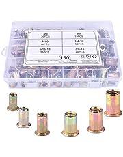 "BONROB 150pcs Mixed Zinc Plated Carbon Steel Rivet Nut Threaded Insert Nutsert M 6 8 10 1/4""-20 5/16-18 3/8-16 Packaged by Plastic Case BO010"