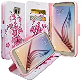 Microseven Galaxy S7 Case, Samsung Galaxy S7 Wallet Case, Wrist Strap Flip Folio Pu Leather Wallet Case with ID & Credit Card Slot with Stand For Galaxy S7 (Spring Flower)