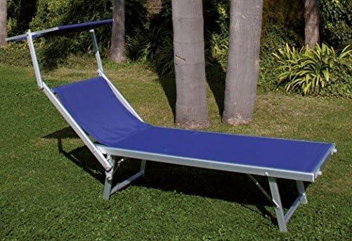 Lettino con parasole in alluminio tubolare e telo in textilene Blu PLAYA