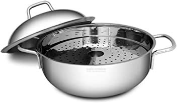 Bella Cuisine Induction Pasta Pot Stainless Steel Multipot Steamer 3.7 Quart 16cm with Strainer