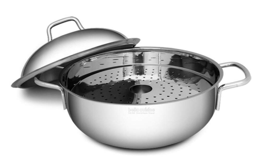 Bella Cuisine 18/10 Stainless Steel 3Ply Multi Woks with Steamer, Induction Cookware 4L Pot, Soup dish Steamed dish Stir-fry