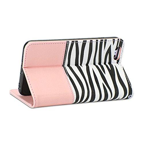 iPhone 6 Plus Hülle, GMYLE Mappen Kasten Zebra für iPhone 6 Plus (5,5-Zoll-Display) - Hellrosa Zebra Muster PU-Leder schlanke Brieftasche Standplatz-Fall-Abdeckung