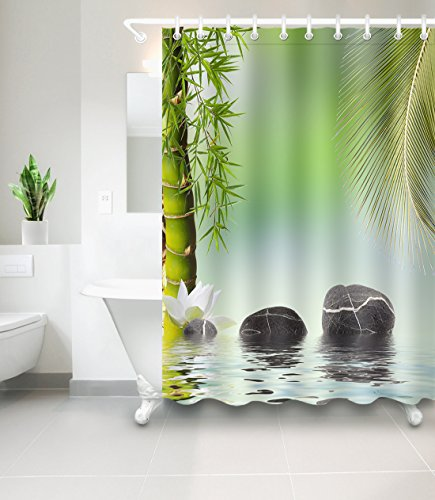 LB Green Bamboo Palm Tree Leaf Lotus Flower Decor Shower Curtain for Bathroom, Asian Japanese Spa Meditation Zen Theme, Mildew Resistant Water Repellent Decor Curtain, 70 x 70 by LB