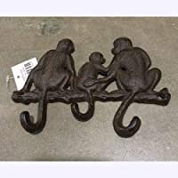 Cast Iron Key Holder Coat Hanger/Monkey Family/Wall Mounted 3 Hooks