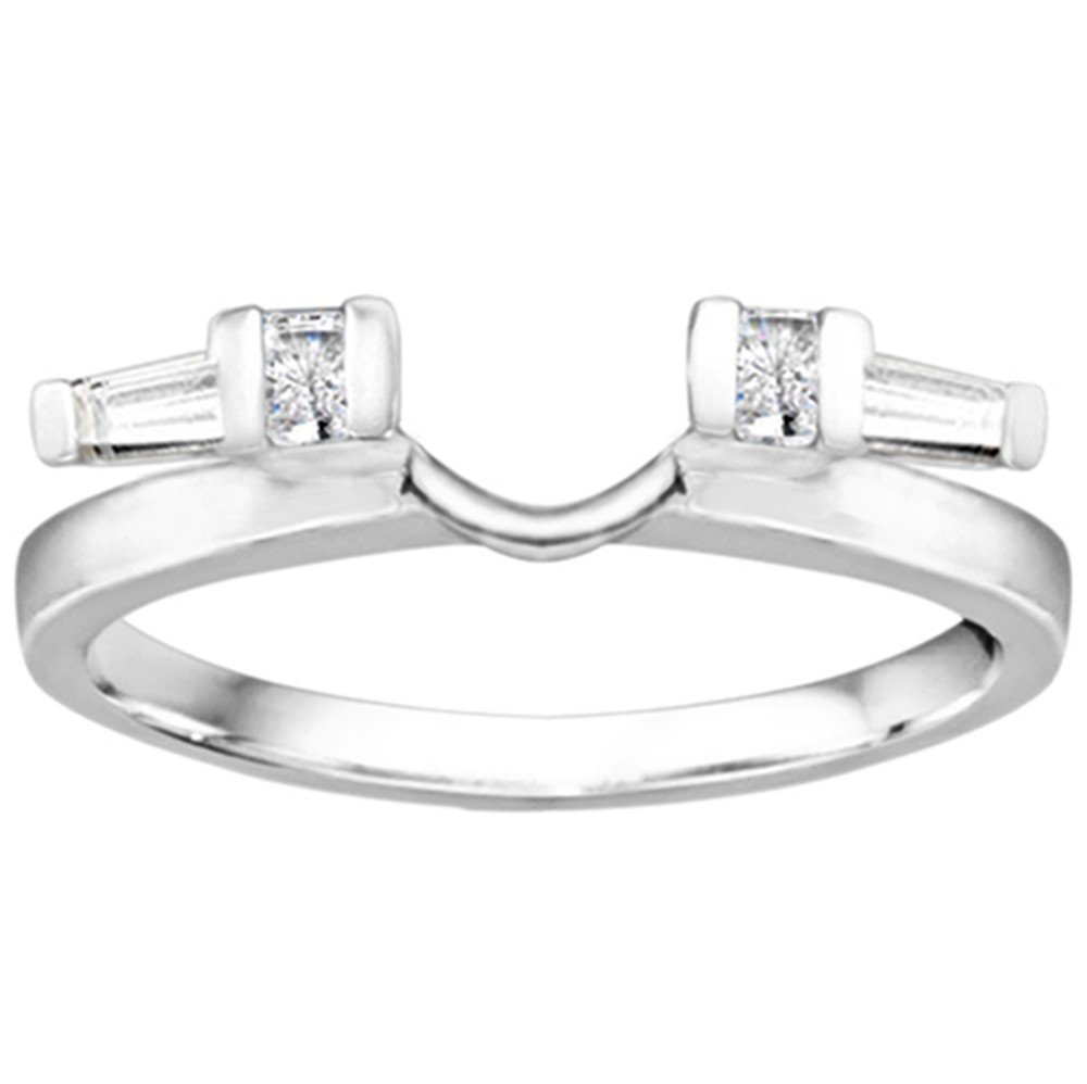 Diamond and Created Ruby Ring Wrap Enhancer set in Sterling Silver (0.24 ct. twt)