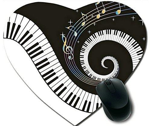 Note musicali e pianoforte antiscivolo e comfort Mouse Pad personalizzato, Tappetino per Mouse a forma di cuore