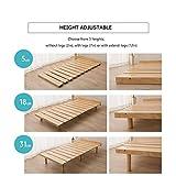 EMOOR Solid Pine Wood Slatted Platform Bed Frame