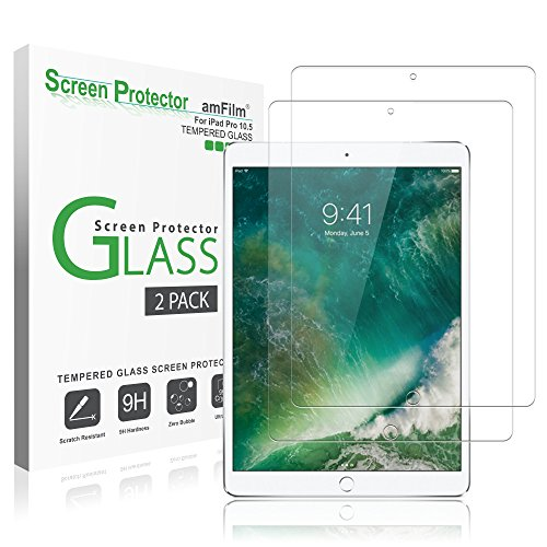 """iPad Pro 10.5 inch Screen Protector Glass (2-Pack), amFilm Tempered Glass Screen Protector for Apple iPad Pro 10.5"""" 2017 Case Friendly and Apple Pencil Compatible 0.33mm 2.5D Rounded Edge (2-Pack) Image"""