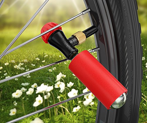 Co2 Inflator Kit With 3 Co2 Cartridges and Carrying Case, Quick & Easy, Bicycle Tire Pump for Road and Mountain Bikes, Fits Presta & Schrader Valves, Insulated Sleeve. by Bicykit (Image #1)