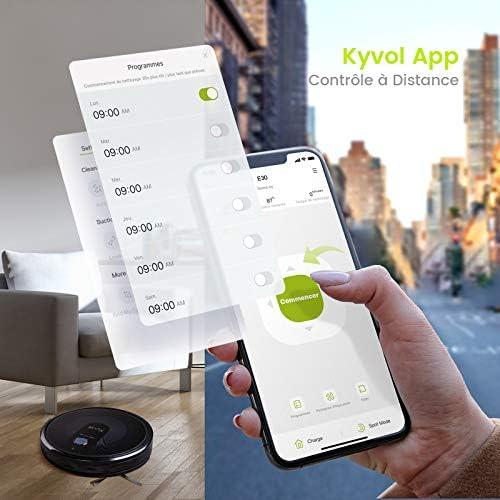 KYVOL Aspirateur Robot 2200Pa, Navigation Intelligente, 150Mins Autonomie, 600ML Capacité, Silencieux, Wi-Fi & App & Alexa, Carpet Boost, pour Tapis, Sol Dur, Poil Animaux - Home Robots