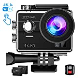 JEEMAK Sports Action Camera 4K 16MP Touch Screen 98ft Waterproof Cam WiFi Remote Control Camcorder 2 Pcs Rechargeable Batteries Mounting Accessories Kits Compatible go pro