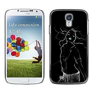 Labios Mujer Negro eléctricos Sexy verde menta- Metal de aluminio y de plástico duro Caja del teléfono - Negro - Samsung Galaxy S4