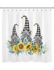 HVEST Sunflowers Shower Curtain Gnomes with Plaid Hats Shower Curtain Spring Plants Shower Curtain Botanical Floral Bathroom Curtain