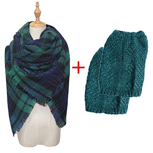 Womens Winter Outfits Set - Thick Knitted Winter Warm Infinity Scarf & Short Women Crochet Boot Cuffs Winter Cable Knit Leg Warmers (OneSize, Dark-green Plaid Scarf & Dark-green Leg Warmers Set) Crochet Dark Green