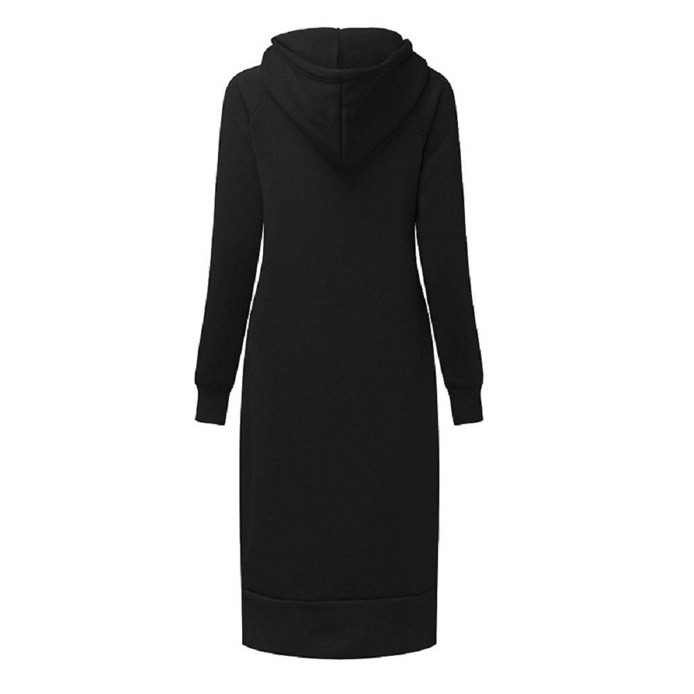Celmia Women Hooded Long Sleeve Drawstring Split Pockets Solid Sweatshirt Casual Long Dress