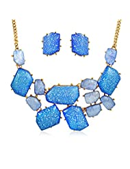 Bling Jewelry Gold Plated Color Bib Necklace Stud Earrings Set