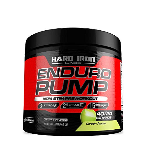 Enduro Pump – Non Stim Preworkout – Massive Pumps – Nitric Oxide Booster- 40/20 Servings – Green Apple Flavor