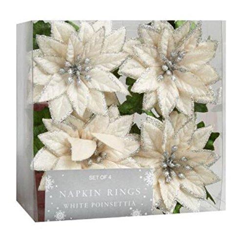 Holiday White Poinsettia Napkin Rings Set of 4