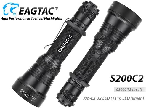 EagleTac S200C2 1116 Lumens 417 Yards Long Throwing LED Flashlight with LumenTac Rechargeable battery Charger Premium Holster