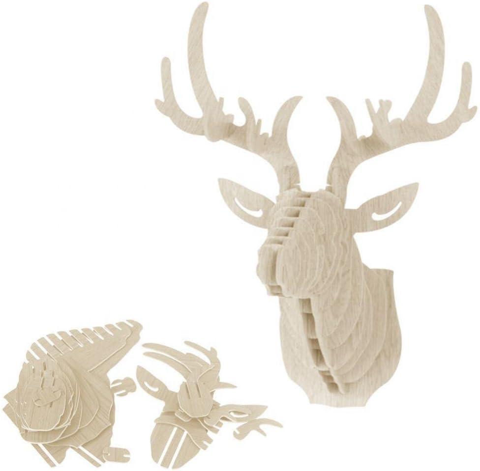 7 Colors Available DIY Assembling 3D Wooden Deer Wall Hangings Animal Wildlife Head Sculpture Lemon
