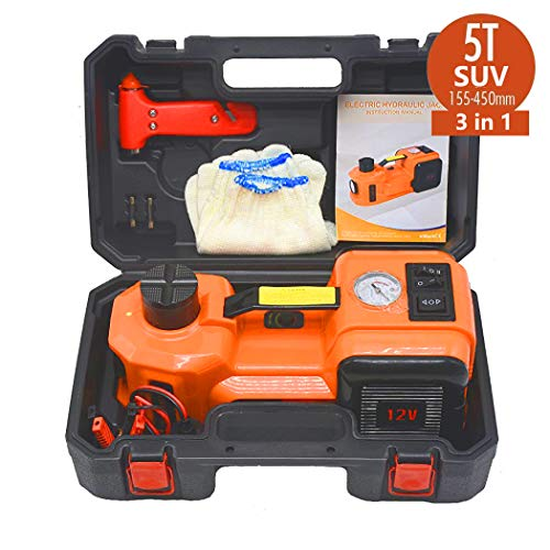 atliprime 12V DC 5.0T(11023lb) Capacity Lifting range 155-450mm Electric Hydraulic Floor Jack and Tire Inflator Pump and LED Flashlight 3 in 1 Set Tire Repair Tool for SUV/light Truck/Pickup
