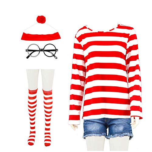 snow flying Women Red and White Striped Cosplay T-Shirt Halloween Cosplay ()