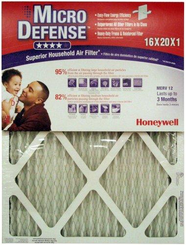Honeywell CF112D1620/U MicroDefense MERV 12 Superior Household 1 Inch Air Filter, 4-Pack