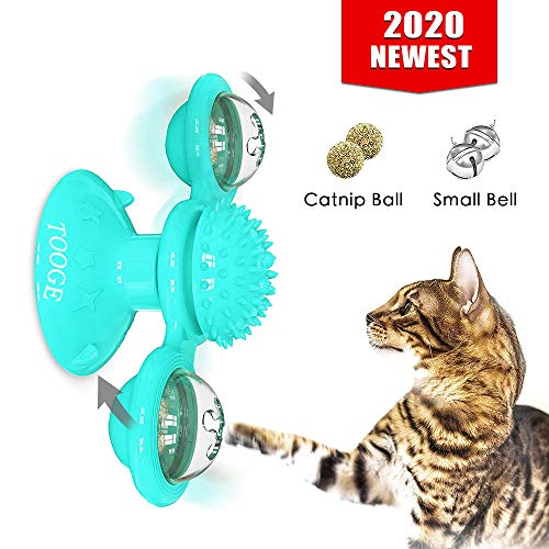 TOOGE Windmill Cat Toy Turntable Teasing Interactive Cat Toys for Indoor Cats with Suction Cup Scratching Tickle Cats…