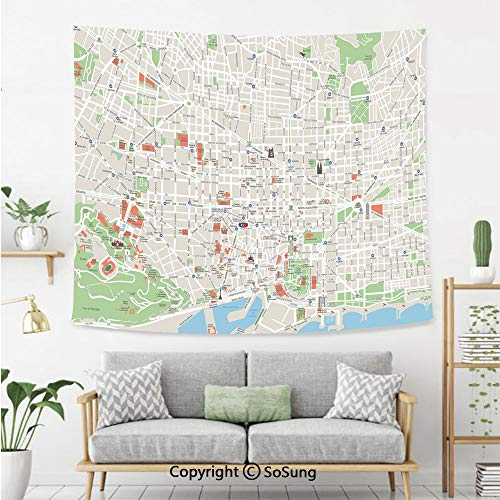 SoSung Map Wall Tapestry,Map of Barcelona City Streets Parks Subdistricts Points of Interests Decorative,Bedroom Living Room Dorm Wall Hanging,80X60 Inches,Beige Lime Green Light Blue