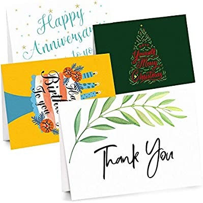 Christmas Bday Cards.Latit 40 Bulk Thank You Cards Merry Christmas Cards Happy Anniversary Cards Happy Birthday Cards With 40 Envelopes And 48 Thank You Sealing