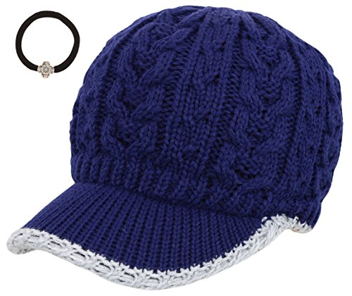 Women's Cable Knitted Double Layer Visor Beanie Hat with MIRMARU Hair Tie (505,Tipped Line/Navy)