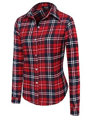 HAPLICA Womens Casual Long Sleeve Button Down Plaid Shirts Blouse Tops