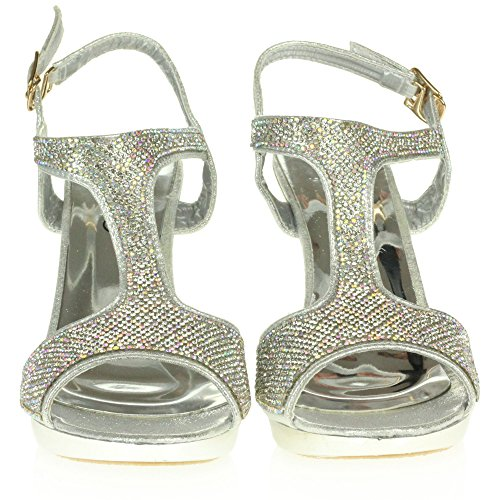 Ladies Evening Womens High Silver Party Bridal Crystal Shoes Wedding Diamante Sandals Prom Size Ankle Heel Strap LONDON AARZ FwqWgXEBA