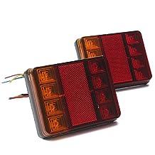 AUDEW 2X Waterproof 8LED Trailer Light Rear Tail Lamp 12V DC Car Truck Boat shockproof