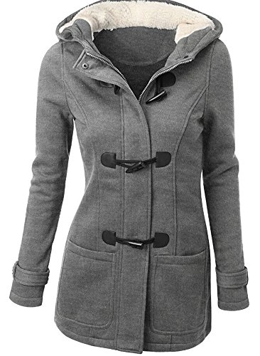 QZUnique Women's Fashion Double Breasted Thicken Warm Hoodie Coat Jacket Light Grey US 8