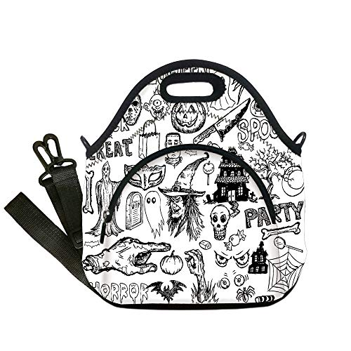 - Insulated Lunch Bag,Neoprene Lunch Tote Bags,Vintage Halloween,Hand Drawn Halloween Doodle Trick or Treat Knife Party Severed Hand Decorative,Black White,for Adults and children