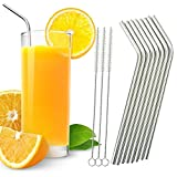 Chunlin Stainless Steel Drinking Straws, Set of 8, 3 Free Cleaning Brush Included