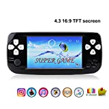 """Handheld Game Console,Rongyuxuan Portable Video Game 4.3""""TFT Screen 4GB PAP Classic Handheld Game Console 610games 64 Bit Portable Game Console,Birthday Gift for Children-Black"""
