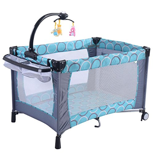 Baby Playpen Playard Bassinet Foldable Bed Travel Crib Newborn Infant Green Color