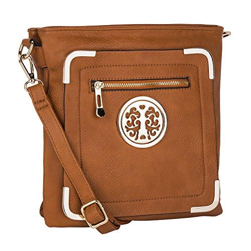 Mia K. Farrow MKF Collection Courier Fashionable Crossbody Bag Shoulder Bag (Cognac Brown)