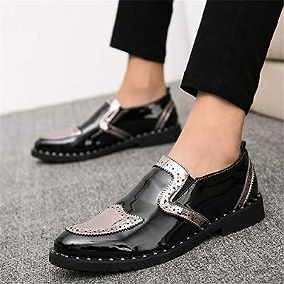 Yuanzhiws Trabajo for Hombres Brogue Oxfords for Hombres Zapatos sin Cordones for Caminar Mocasines Tallado Síntesis Cuero Punta de ala Tacón de Bloque para Caballero Elegante: Amazon.es: Hogar
