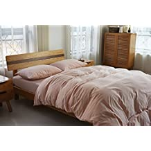 Deep Sleep Home 100% Washed Cotton, Solid Color 3pc Duvet Cover Set, Zipper Close,Machine Washable, Inside Corner Ties (Queen, Light Pink)