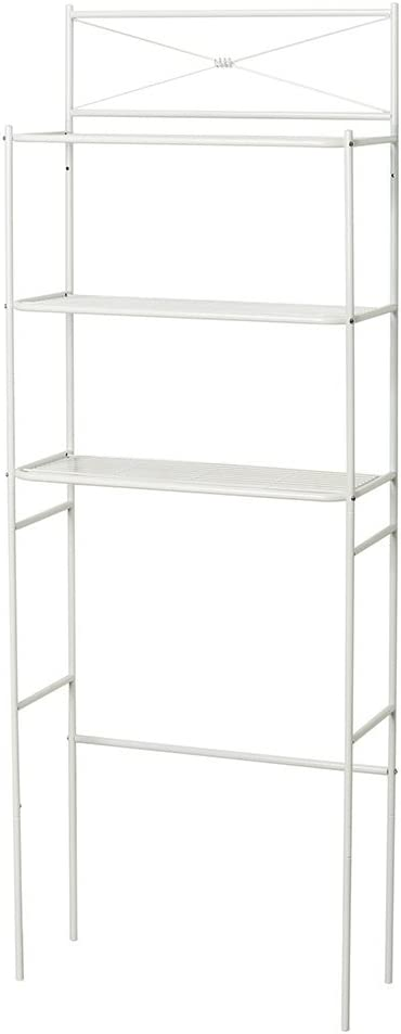 Zenna Home Metal Cross-Style Over The Toilet Bathroom Spacesaver, with 3 Bathroom Storage Shelves, White