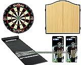 Premium Pub Darts Set - Starter Bundle (Beech cabinet)