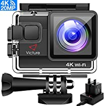 Victure 4K Action Cam Wi-Fi 20MP Ultra HD Impermeabile 40M Immersione Sott'acqua Camera 170° Grandangolare 2.0 Pollici due 1050mAh Batterie/Caricabatteria/Kit Accessori per Ciclismo Nuoto e altri Sport Esterni